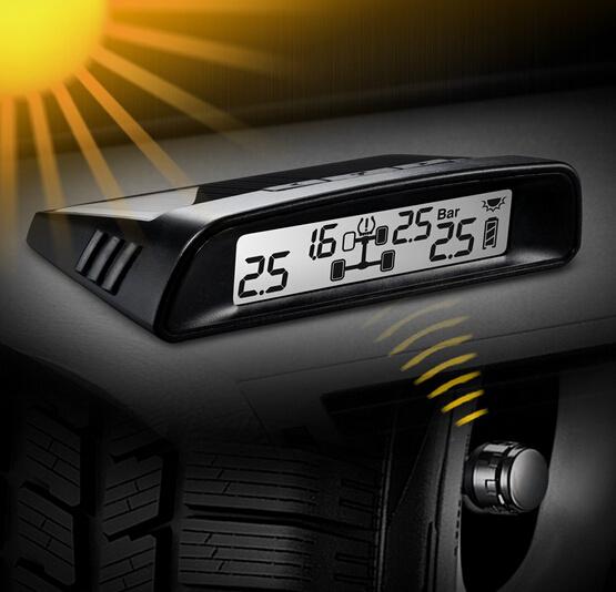 Car Wireless TPMS Tire Pressure Monitoring System Solar LCD Psi Bar Car TPMS