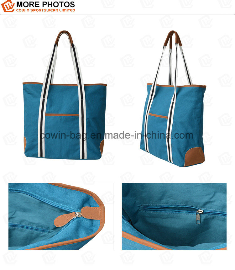 Ladies Cotton Canvas Shopping Tote Bag with PU Trim