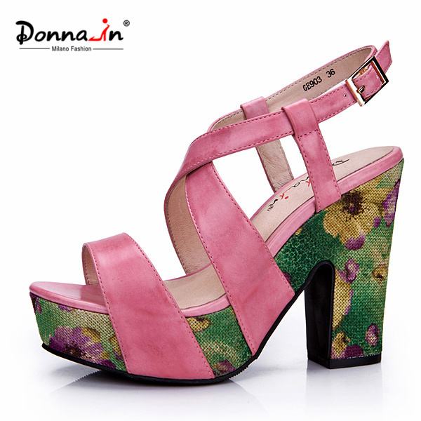 Lady Leather Floral Weave Platform High Heels Women Sandals Shoes