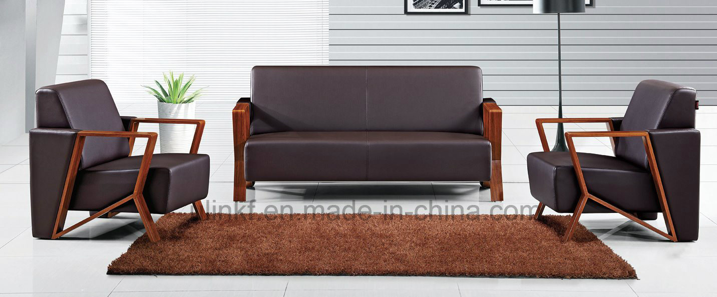 Modern Office Furniture Sectional Genuine Leather Office Sofa (HX-CF004)