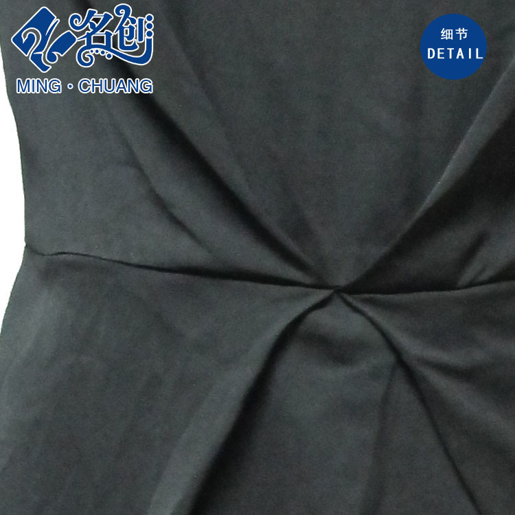 Black Short-Sleeve Round Collar Rear-Zipper Ladies Daily Dress
