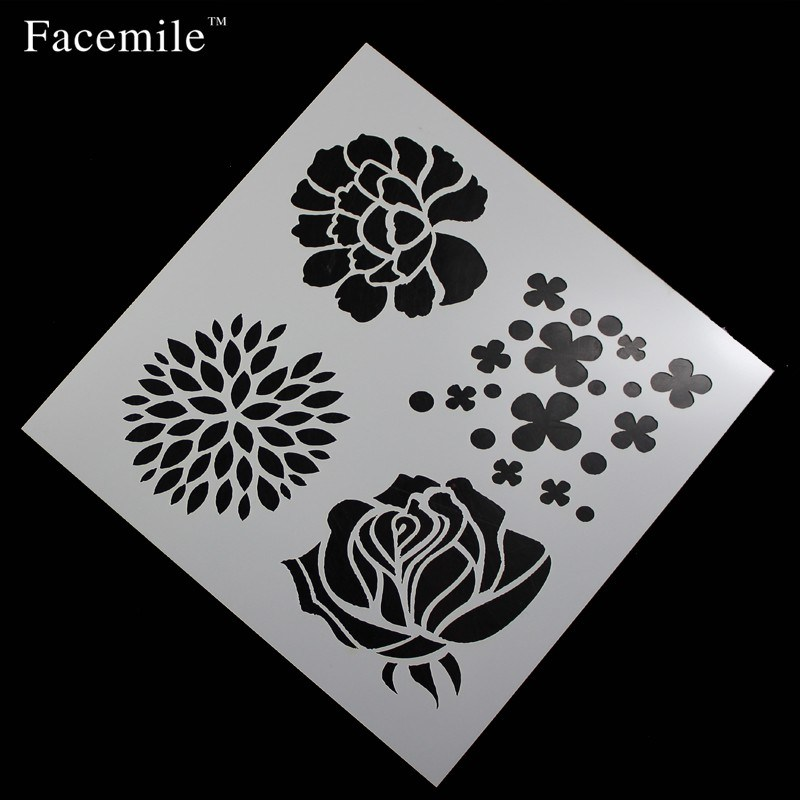 Cake Stencil Flowers Shape Spray Mold Cake Baking Mold Icing Template Strew Pad Duster Spray Printing Decorating Tool