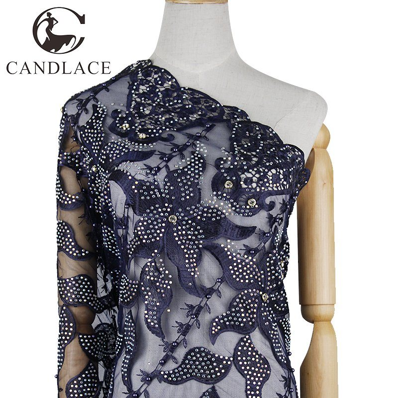 Navy Blue African Stone Lace Fabric Embroidery