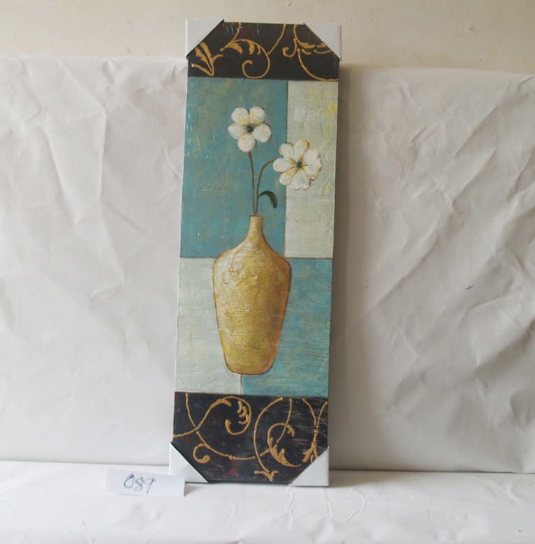 Blue White Bottom Vase with Flower Pattern Home Decorative Canvas Hanging Painting