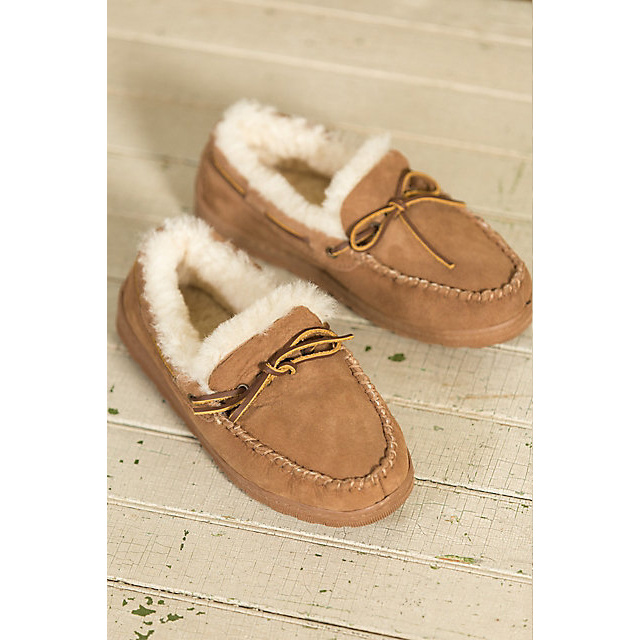 Men′s Leather Sheepskin Moccasin Slippers