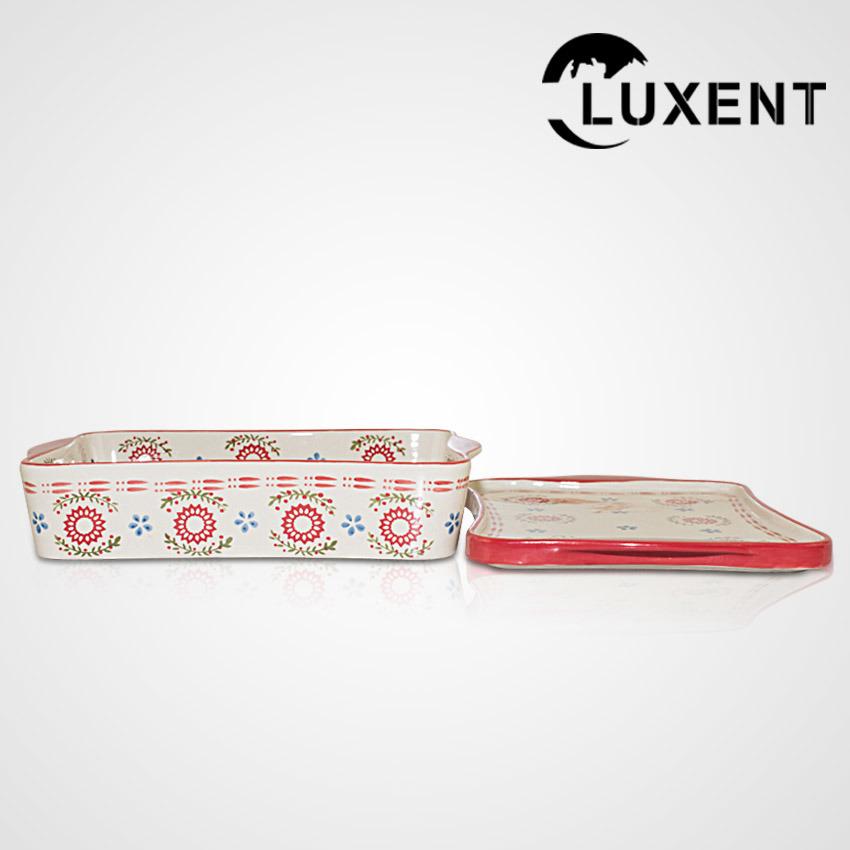 Hot Sale Porcelain Large Wavy Shape Baking Tray with Lid