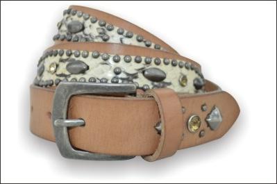 Ethnic Rhinestone Genuine Leather Belt