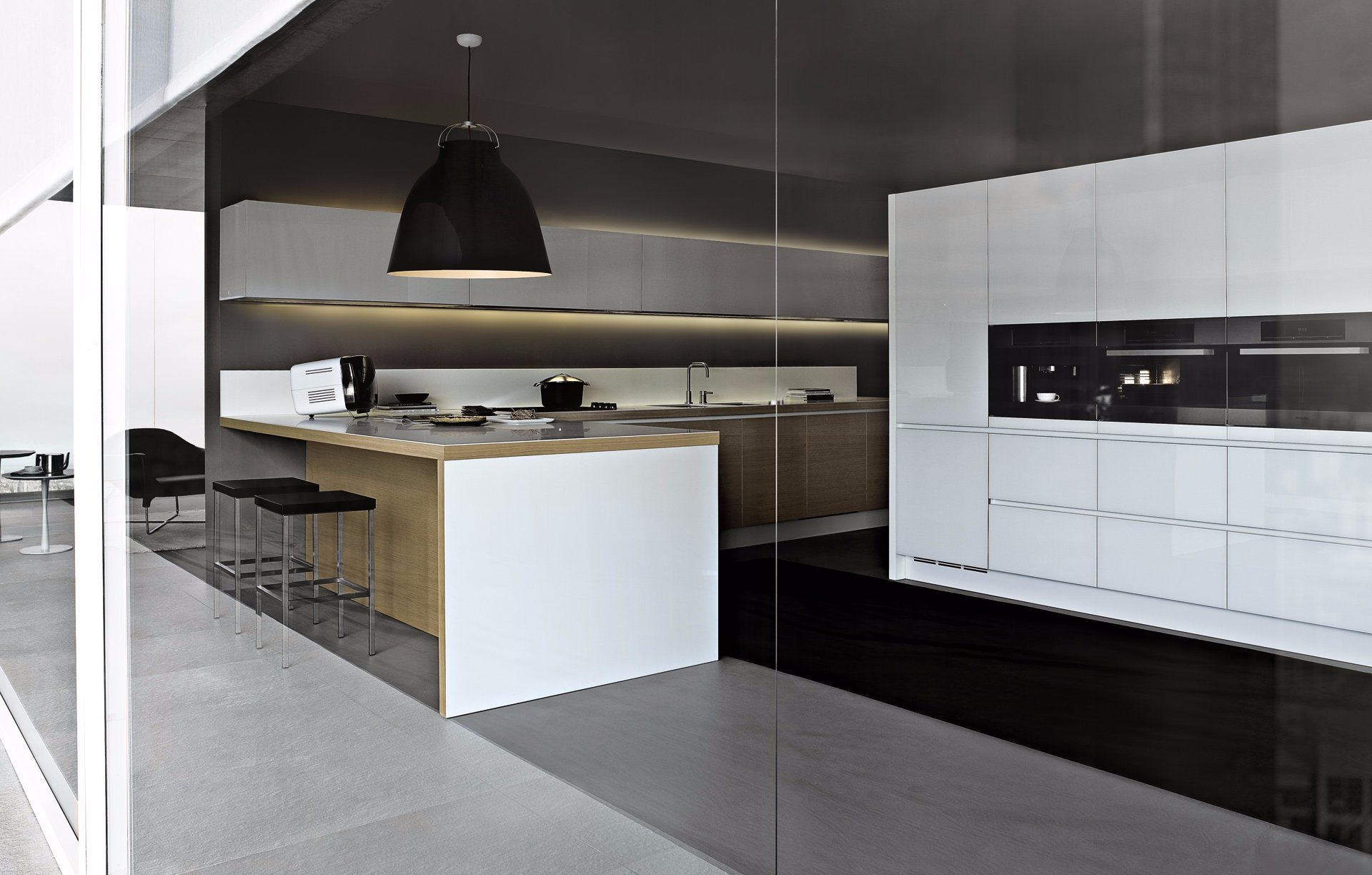 2 PAC Interior Design Kitchen High Pantry for Microwave Oven with Wood Venner Cabinet & Countertop