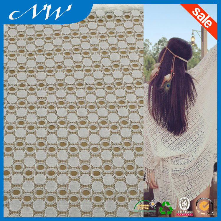 Summer Suitable Breathable White Fancy Polka Dots Lace Fbric