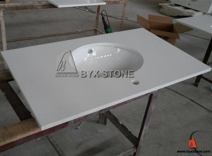 Artificial White Quartz Vanity Top With Undermount Porcelain Sink
