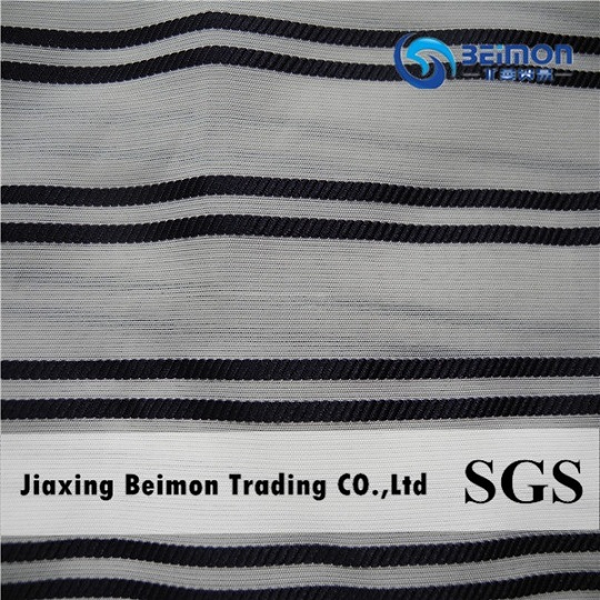 Stripe Tulle Shirt Fabric in Yarn Dyed for Lady′s Voile Shirt.