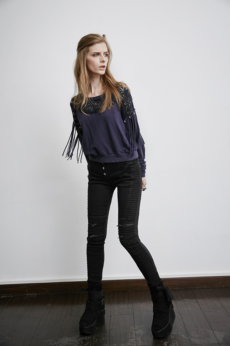 Pk-069 Punk Black Denim Winter Bony Vintage Skinny Woman Jeans
