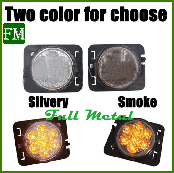 for Jeep Wrangler Jk LED Turn Signal Light Fog Lamp Fender Flares