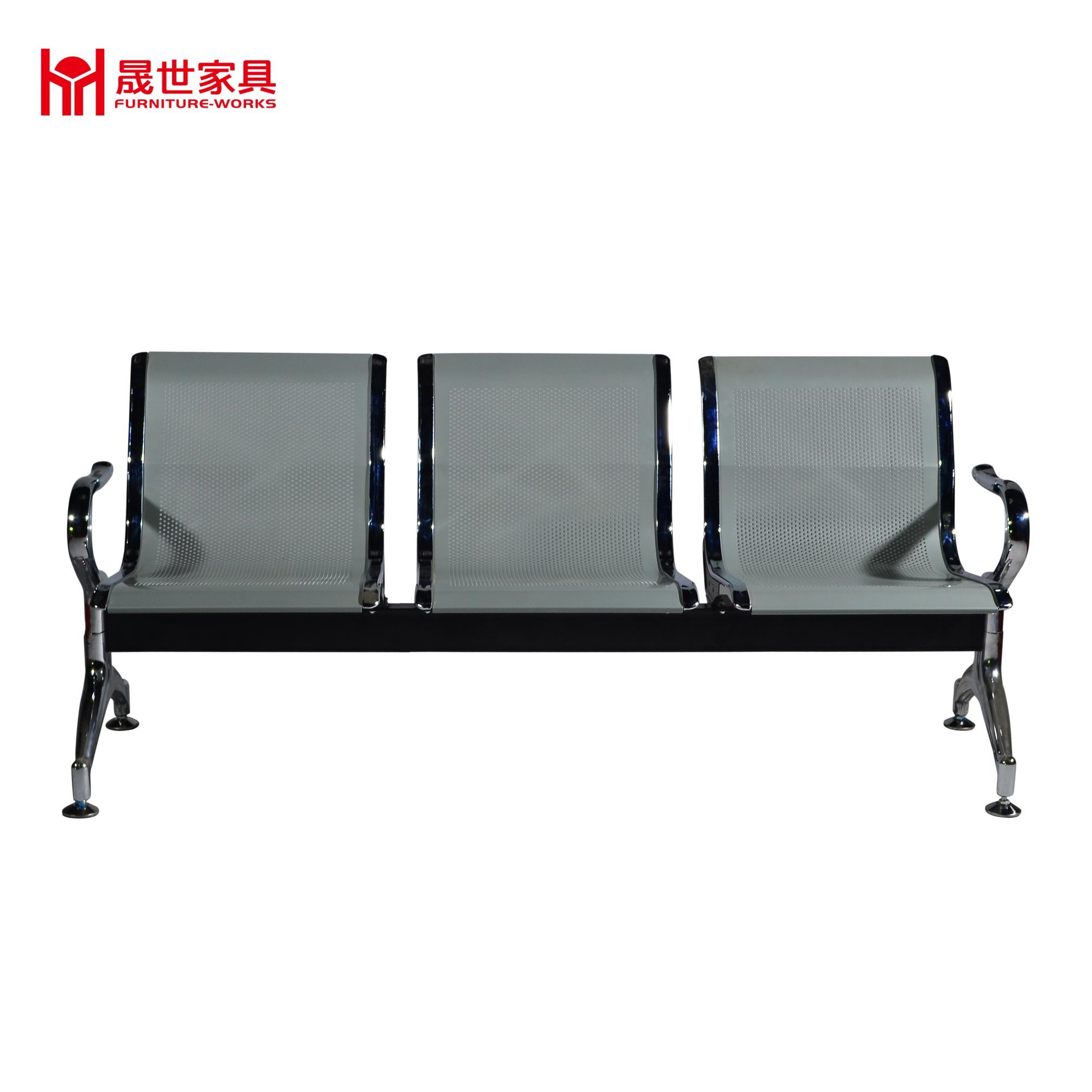 Confort Waiting Room Metal Steel 3 Seater Airport Chair Silver Color Mesh Metal Waiting Chair - ISO9001 Factory Reception Chairs