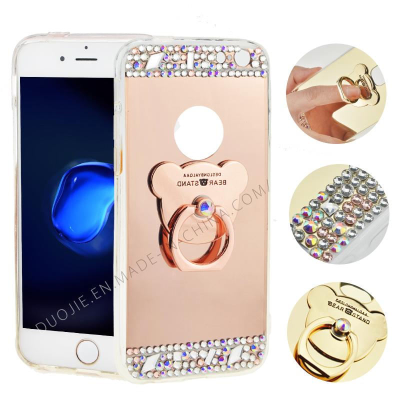 TPU Soft Wtih Rhinestones Mirror Metal Ring Case for iPhone 7 7plus Electropalting Phone Case (XSP-0002)