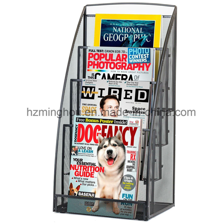 4 Pocket Steel Mesh Magazine and Newspaper Standing Display Rack
