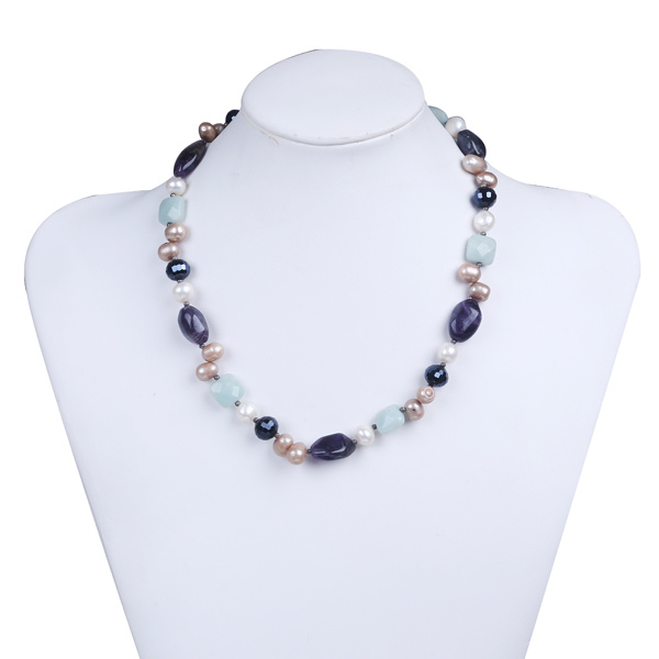 Amethyst Stone Chips Freshwater Pearl Beaded Necklace Jewelry for Women