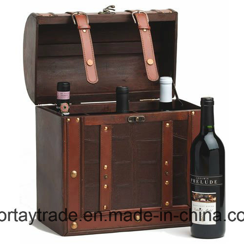 Antique Wood Wine Box 2/4/6 Bottles with Faux Leather