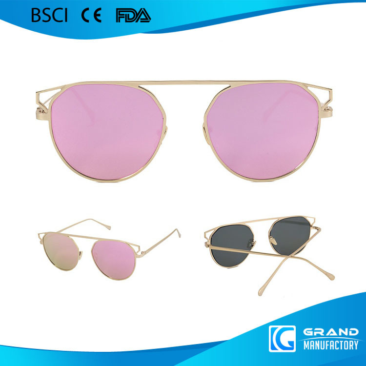2017 Newest Fashion Design Round Frame Polarized Lens Metal Sunglasses