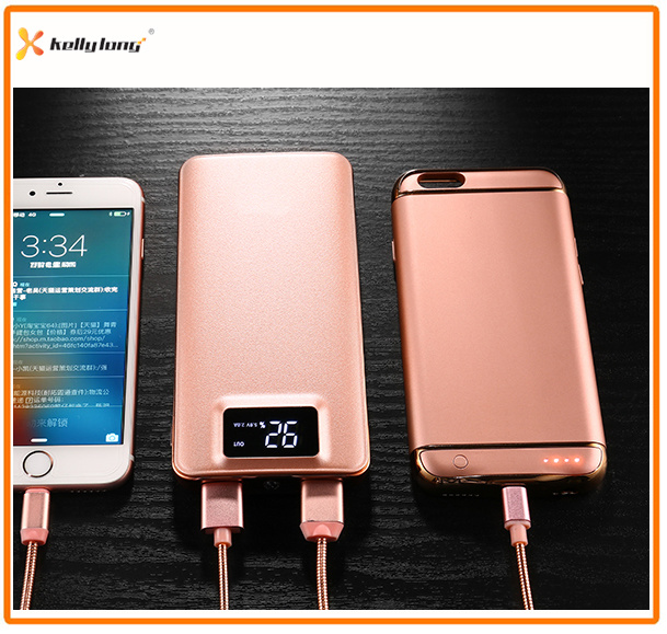 Two Output, LED Light, LCD Display Polymer Slim Power Bank 10000mAh