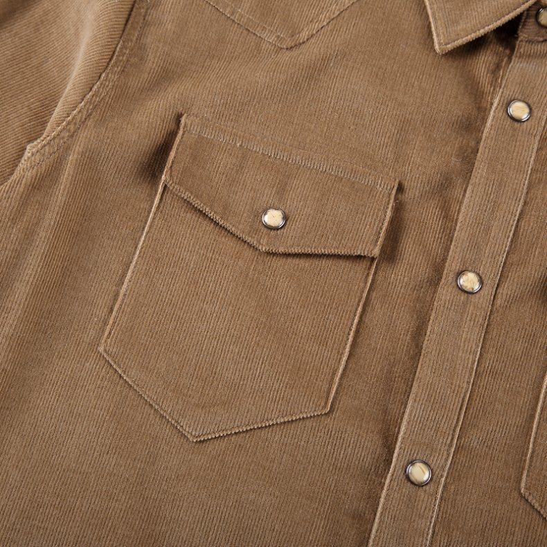 Brown Corduroy Men`S Shirt