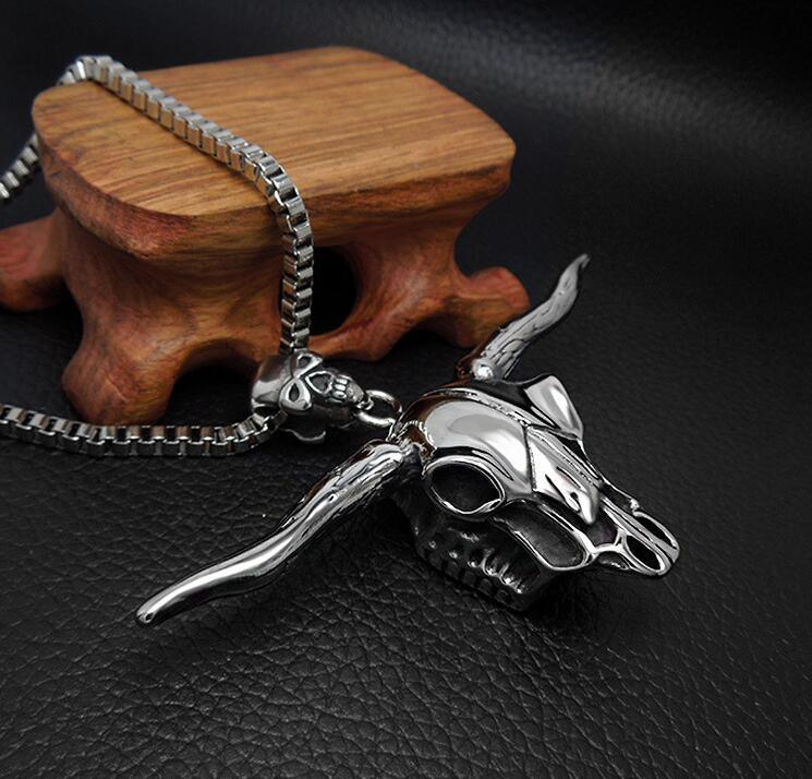 Personality Ox Men Necklace Pendant Fashion Jewelry 316L Stainless Steel