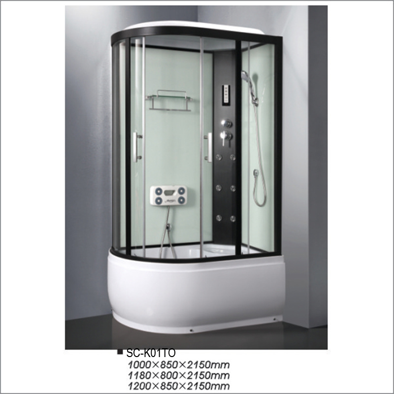 Oval High Tray Reversible Corner Shower Cabin with Shelf