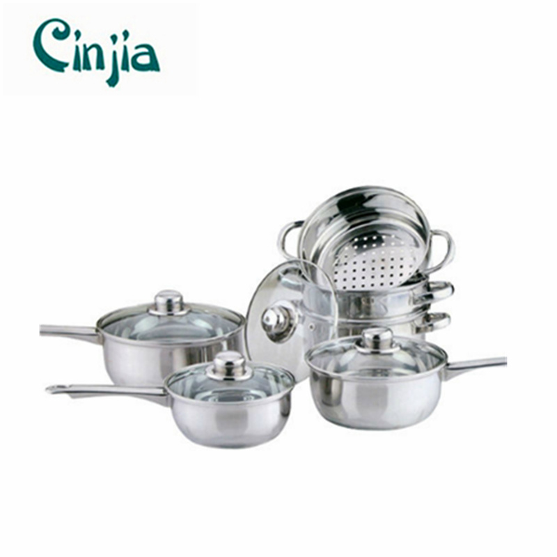 Home Basic 6PCS Cookware with Steamer Set Stainless Steel Saucepan