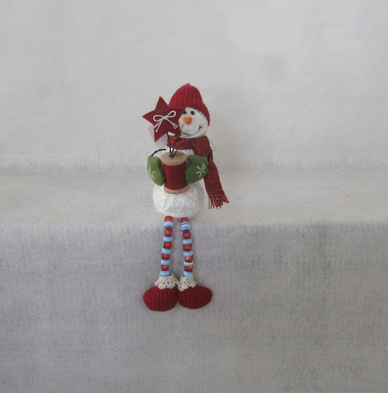 "11""H Button+Bead Legged Yarn Ball Snowman Decoration Gift-2asst."