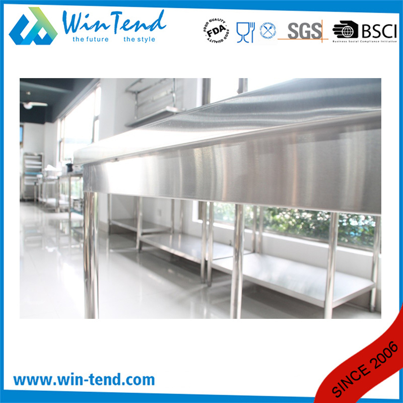 Stainless Steel Round Tube Shelf Reinforced Robust Construction Solid Worktable with Backsplash and Height Adjustable Leg