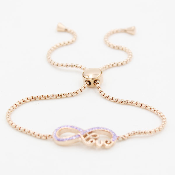 Adjustable Stainless Steel Bracelet with Infinite Love Charms