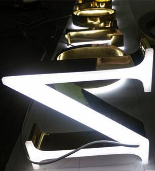 High Luminunce Waterproof #304 Stainless Steel Gold-Plated Back Lit Outdoor LED Signs