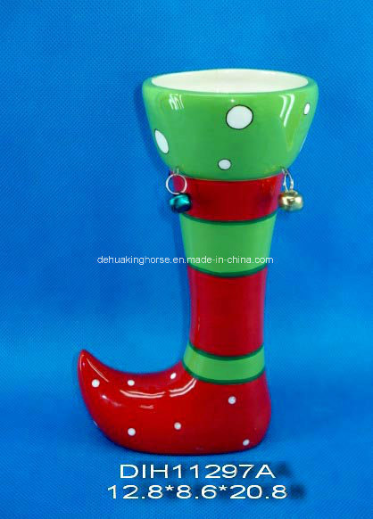 Hand-Painted Santa′s Boot Ceramic Flower Vase