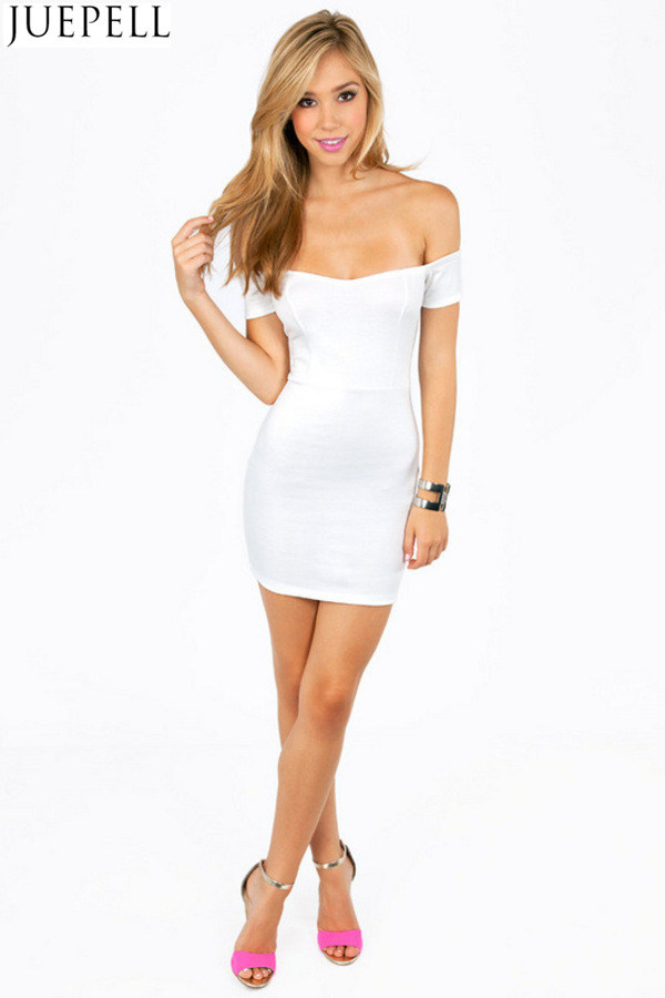Fashion Women Collar Strapless Short-Sleeved Slim Package Hip Skirt Mini Dress