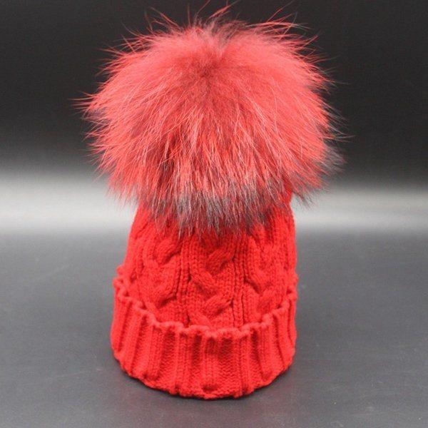 Economical Women Hat with Big Fur Ball Warm Cap Custom Knit Beanie POM