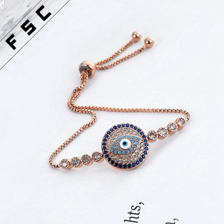 Wholesale Gold Jewelry Rhinestone Evil Eye Adjustable Magnetic Copper Bracelet