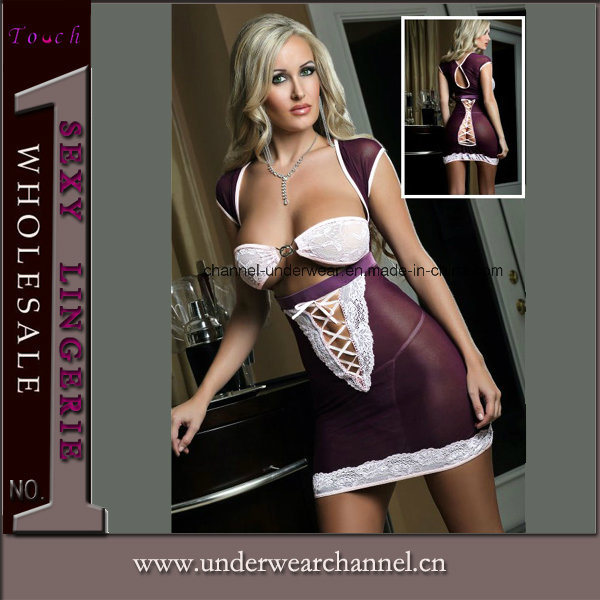 Purple Sexy Women Seamless Transparent Fantasy Baby Doll Lingerie