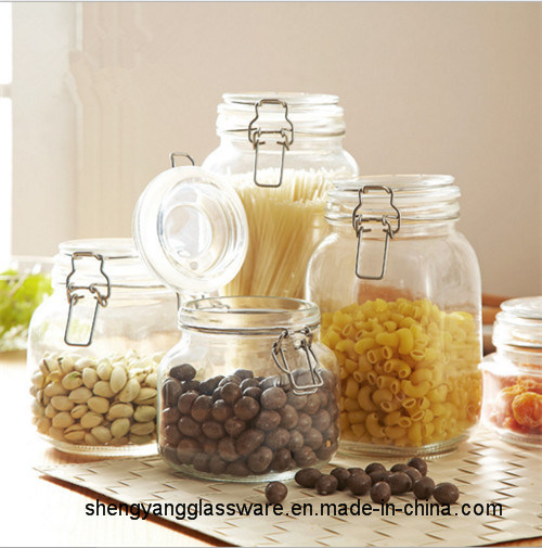 Free Sample Glass Food Storage Jar Glass Container Glass Jar with Sealing Lid