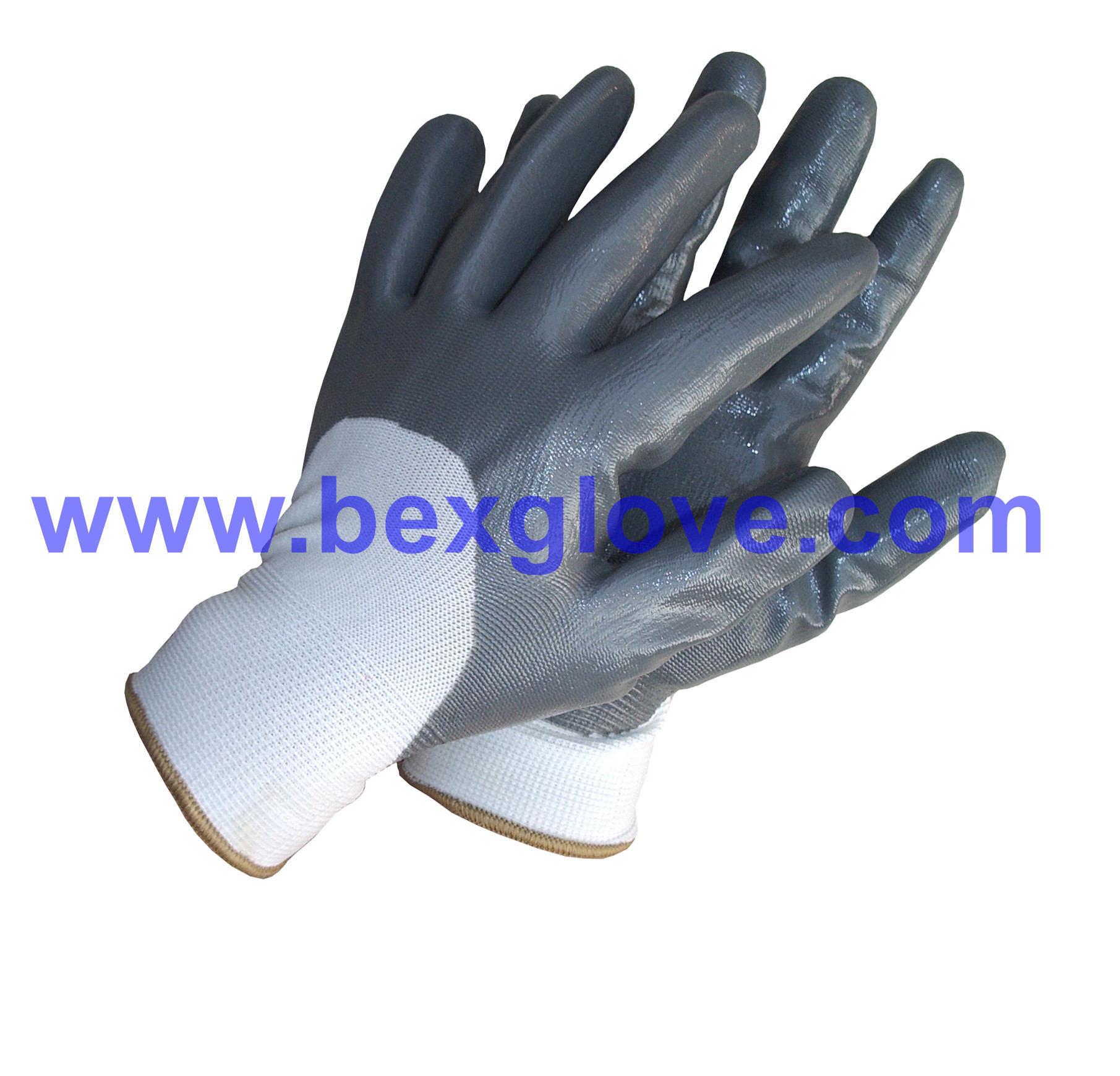 13 Gauge Polyester Liner, Nitrile Coating, 3/4, Smooth Finish Safety Gloves