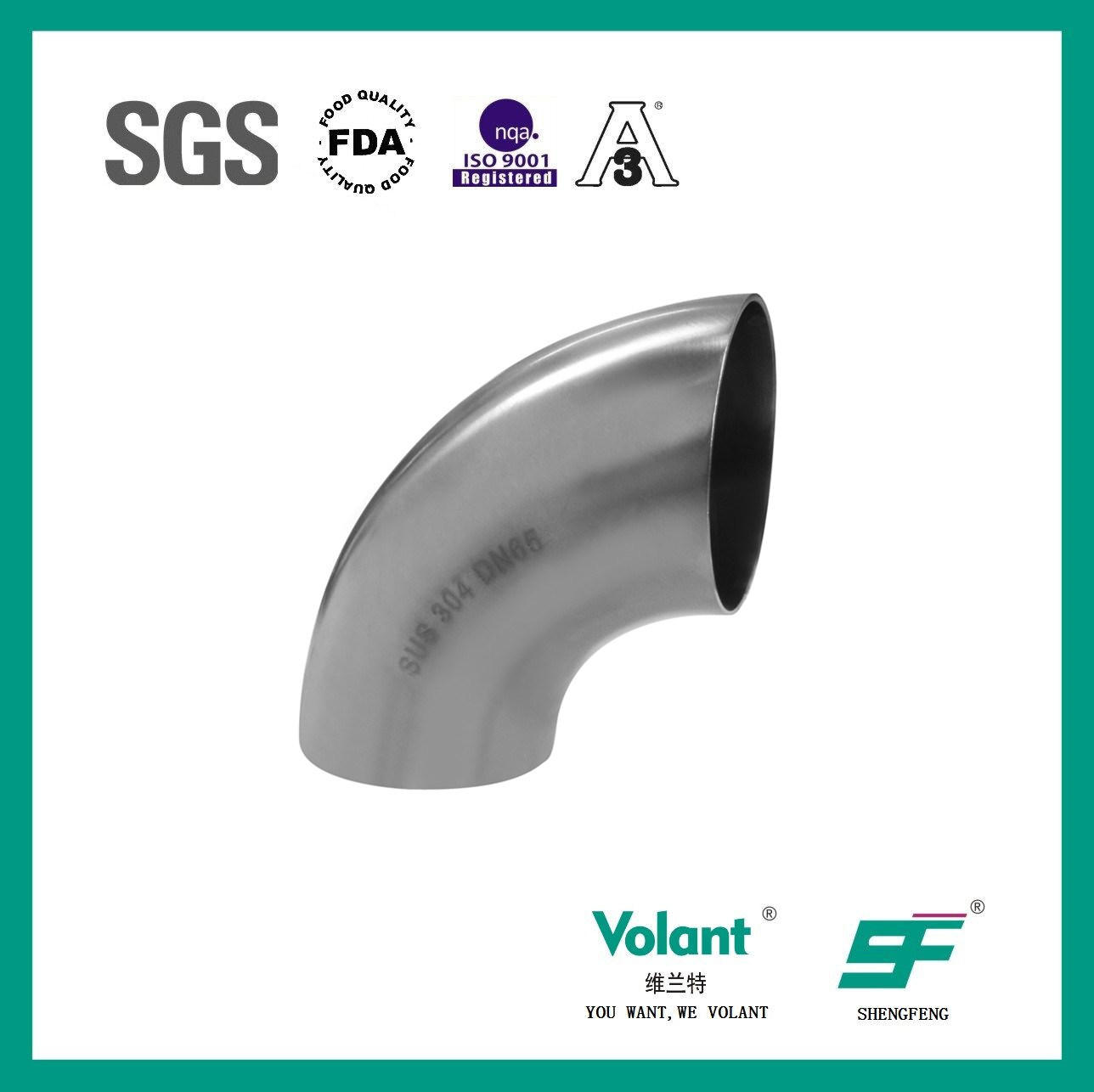 Stainless Steel Sanitary 90d Welded Elbow (SF1000003)