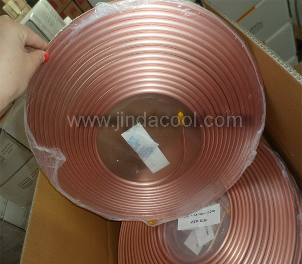 ASTM B280 Soft Temper Pancake Coil Copper Tube in Refrigeration