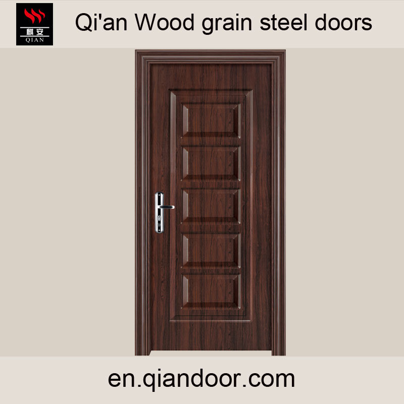 Wood Grain Galvanized Steel Door with Patterns