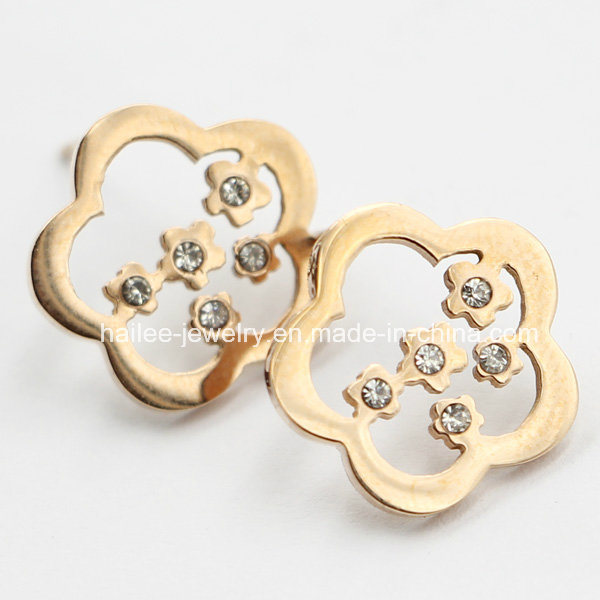 Flower Stainless Steel Earring Jewellery with Stones