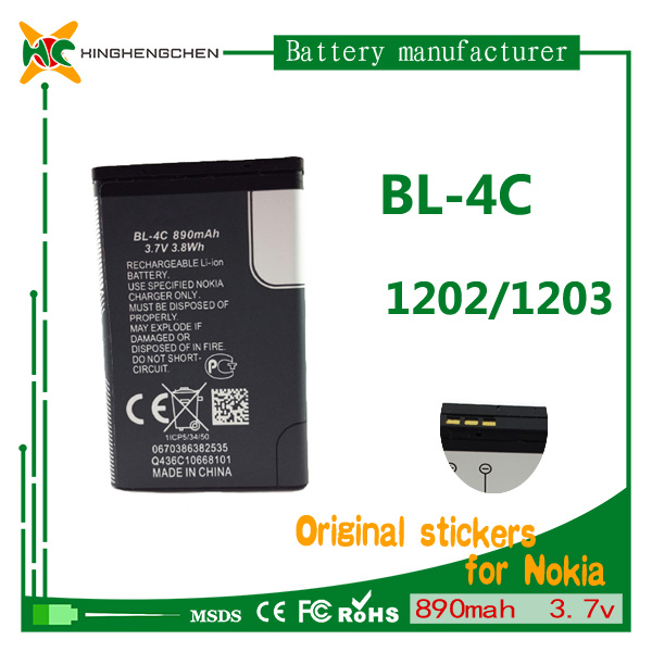 890mAh 3.7V Cellphone Battery Mobile Battery for Nokia Bl-4c 1202 1203 1265