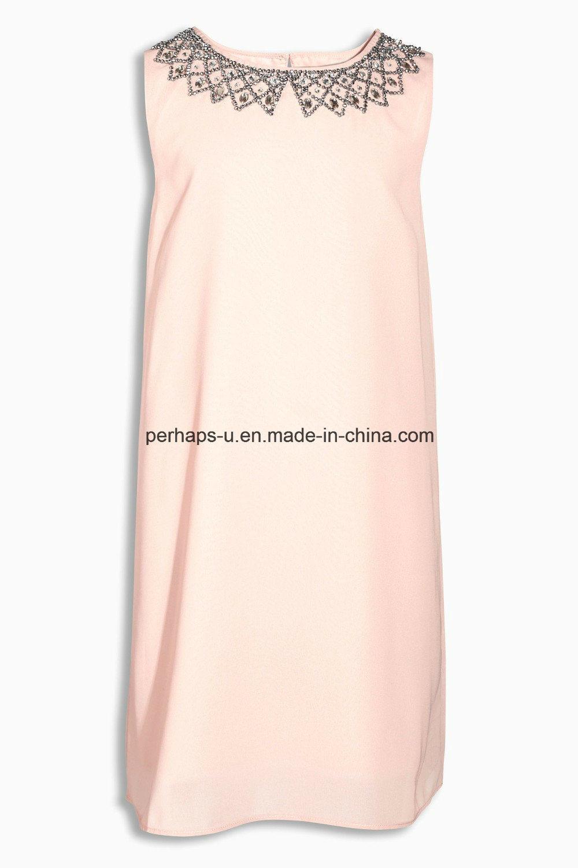 High Quality Fashion Princess Sleeveless Beads Pleated Girls Dress