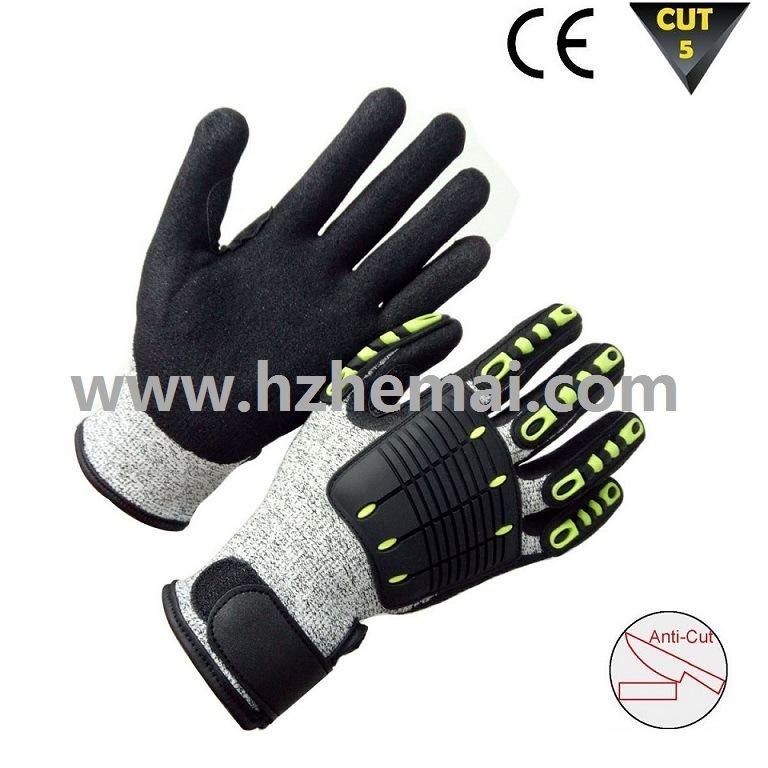Sandy Nitrile Coating Hppe Gloves Cut Resistant Work Glove