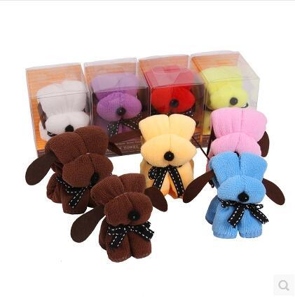 Cute Dog Box Wraped Gift Towel Funny Promotional Towel