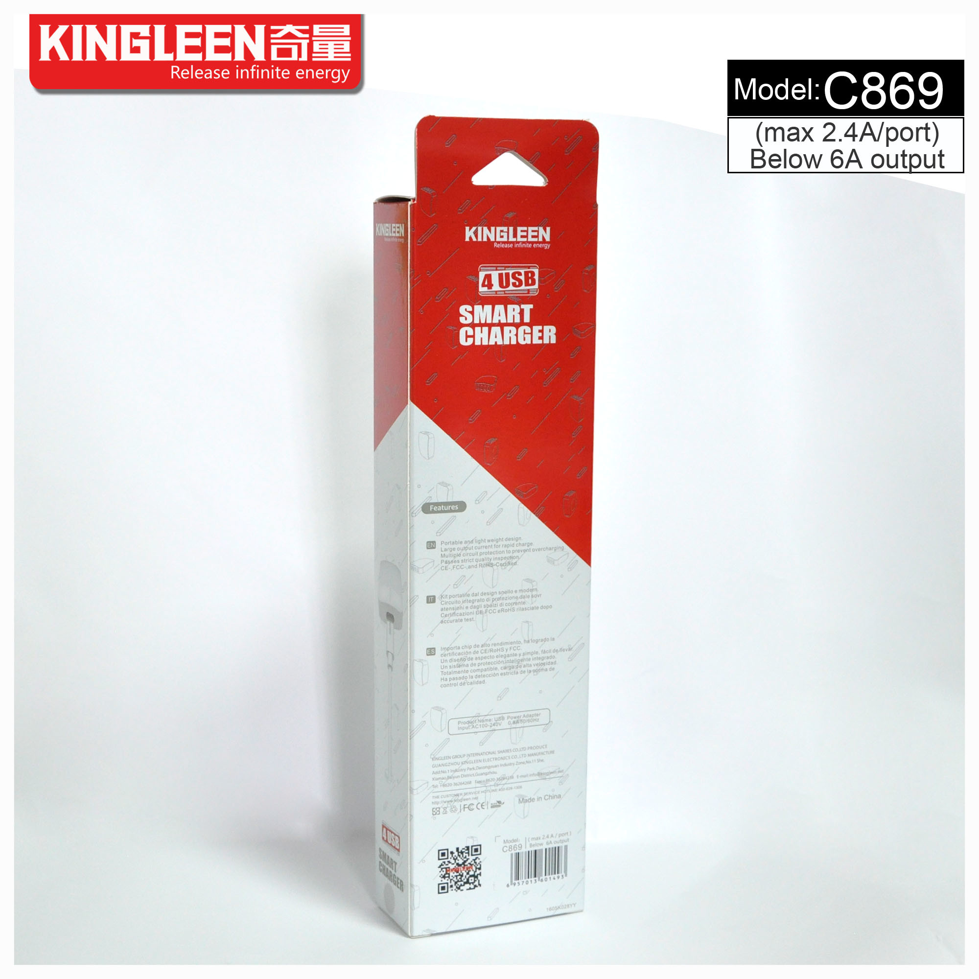 Kingleen C869 Four USB Intelligent Charger 5V-6A Produced by The Original Factory Export to Europe