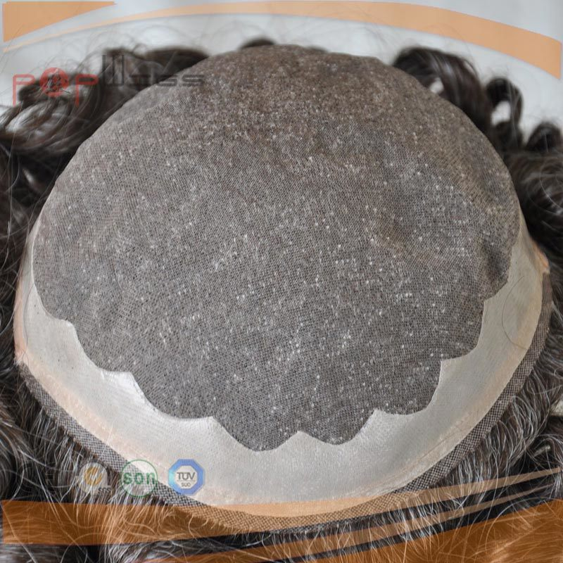 Full Human Hair Grey Color Mono Base PU Border Toupee