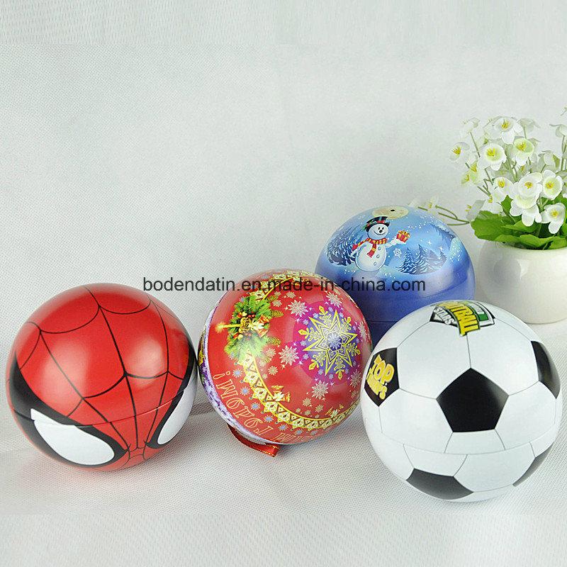 Custom Metal Christmas Decorations Ball Shape Tin with Strings